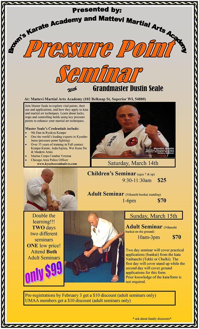 Pressure Point Seminar with GM Dustin Seale @ Mattevi Martial Arts Academy | Superior | Wisconsin | United States